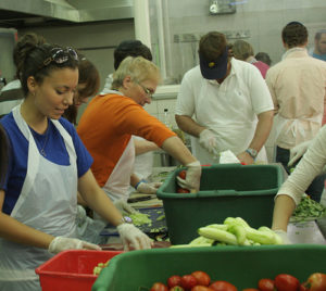 photo of volunteers in soup kitchen